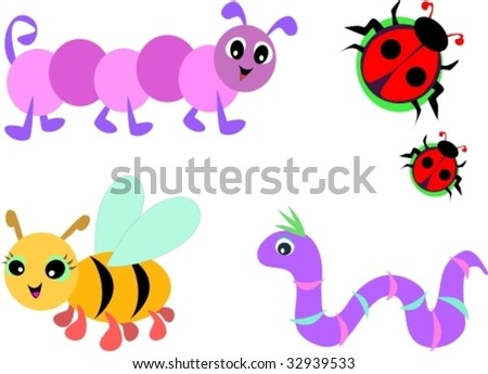 Collection of Cute Bugs Vector