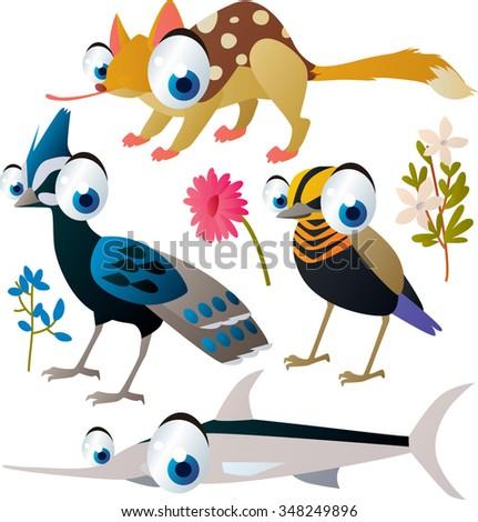 collection of cute cartoon animals: pheasant, bird, quoll, xiphias - stock vector