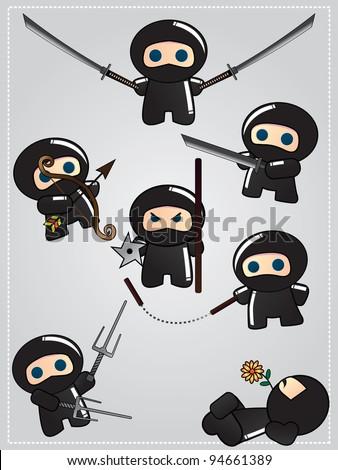 Collection of cute cartoon ninja warriors with various weapon, vector - stock vector