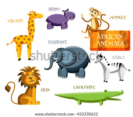 Collection of cute cartoon wild Africa animals in flat style. Giraffe, elephant,zebra, monkey, lion, crocodile, hippo  isolated on white background. Vector illustration - stock vector