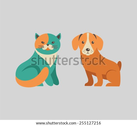 Collection of cute cat and dog vector icons and illustrations - stock vector