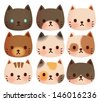 Collection of Cute Cat - Vector File EPS10 - stock