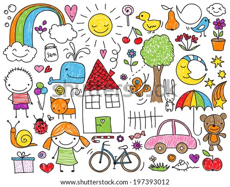 Collection of cute children's drawings of kids, animals, nature, objects - stock vector