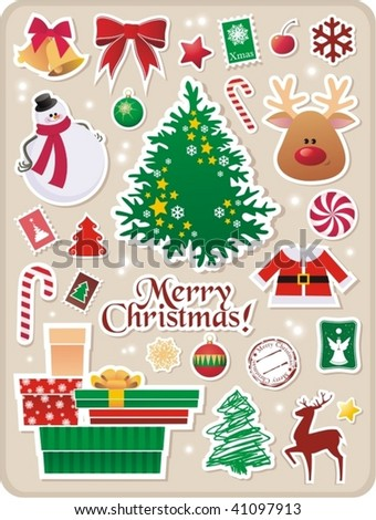 collection of cute Christmas stickers for your design - stock vector