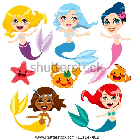 Collection of cute colorful mermaids and sea friends - stock vector