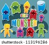 Collection of cute colorful monsters, vector - stock vector