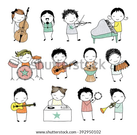 collection of cute doodle kids playing different musical instruments - stock vector
