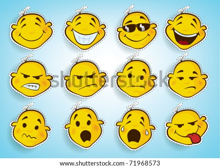 collection of cute faces in different facial expressions - stock vector