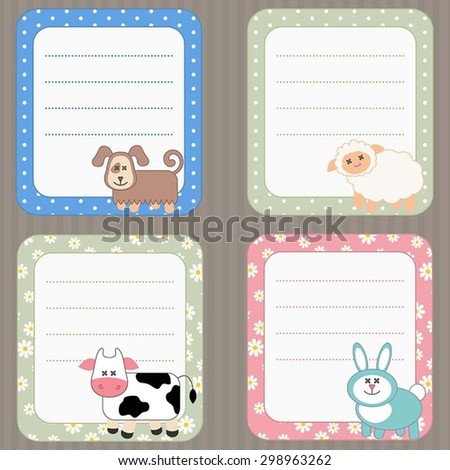 Collection of cute frames with Farm Animals. - stock vector