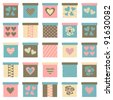 Collection of cute gift boxes in pastel colors isolated on white. Raster version available in my portfolio - stock photo