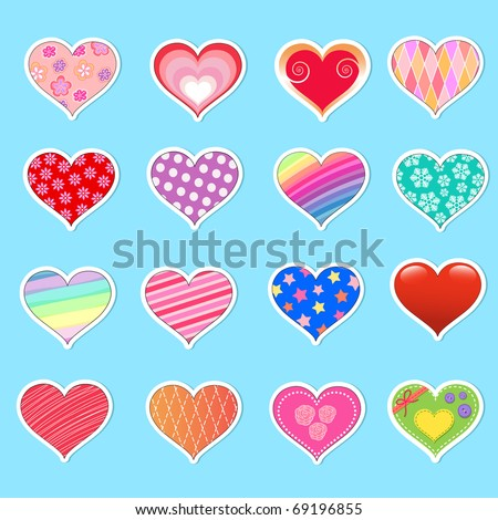 Collection of cute heart stickers - stock vector