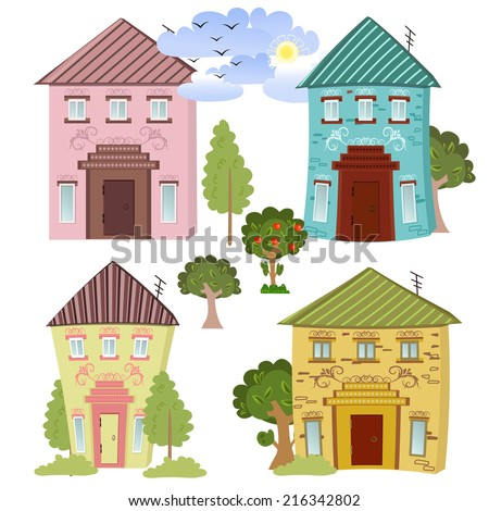 Collection of cute houses - stock vector