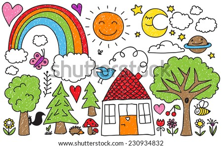 Collection of cute kids' drawings of animals, plants and celestial elements - stock vector