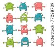 Collection of 12 cute monsters doodle - stock vector