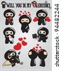 Collection of cute ninja characters holding and sending hearts and love messages for Valentine's day, vector - stock vector
