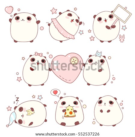 Collection of cute pandas with different emotions in kawaii style