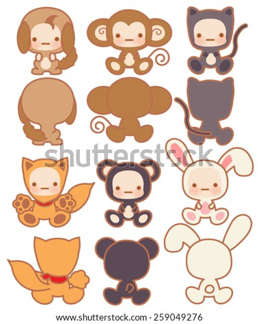 Collection of Cute rabbit - Vector File EPS10 - stock vector