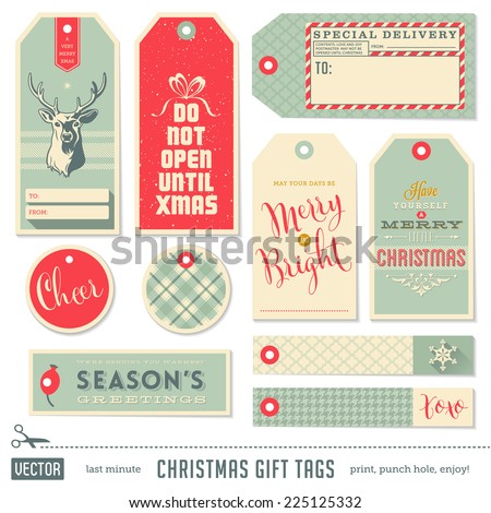 collection of cute ready-to-use christmas gift tags - stock vector
