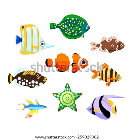 Collection of cute sea fishes. Color vector illustration. - stock vector