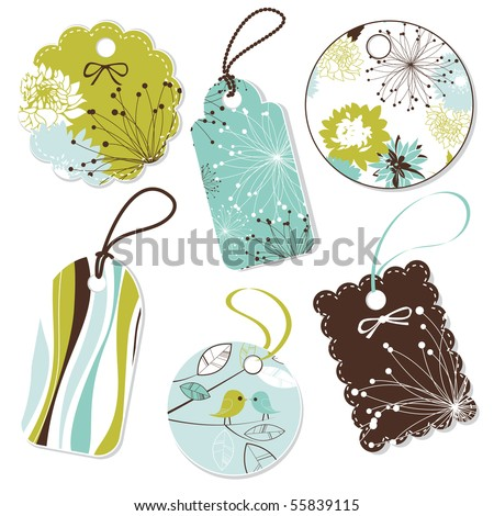 Collection of cute Tags - stock vector