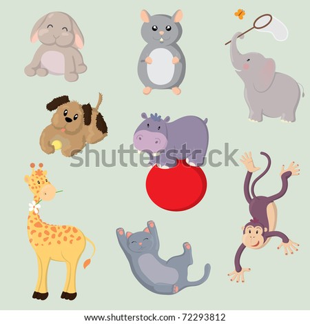 Collection of cute vector animals - stock vector