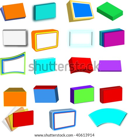 Collection of 3D boxes, screens, boards and files, in various colors, vector
