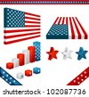 collection of 3D design elements with American flag theme - stock photo