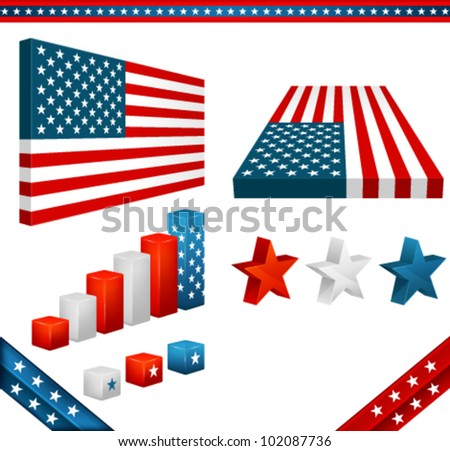 collection of 3D design elements with American flag theme - stock vector