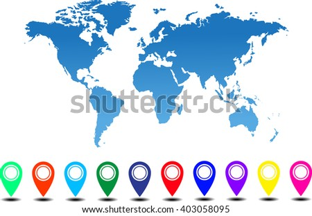 Collection 3 d map pointers world map stock vector 2018 403058095 collection of 3d map pointers with world map vector gumiabroncs Images