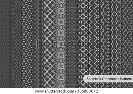 Collection of dark ornamental seamless patterns. - stock vector