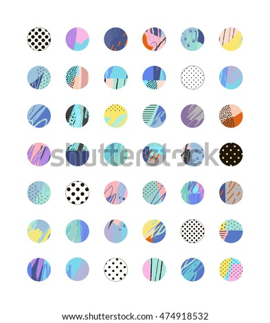 Collection of decor elements and stickers with hand drawn textures. Beautiful Scrapbook Elements. Ideal for cards, posters, invitations. Vector. Isolated