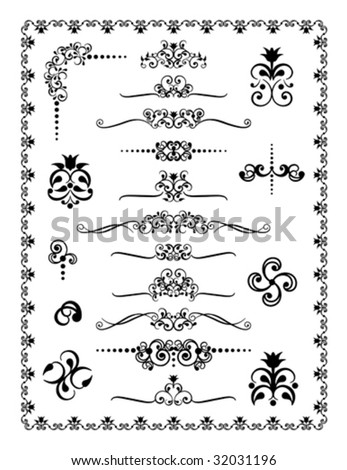 Collection #1 of decorative borders, dividers and ornaments. - stock vector