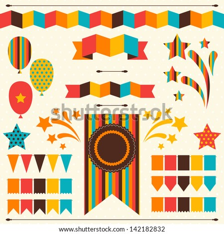 Collection of decorative elements for holiday. - stock vector