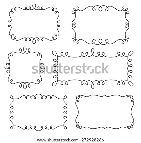 Collection of decorative loop frames - stock vector