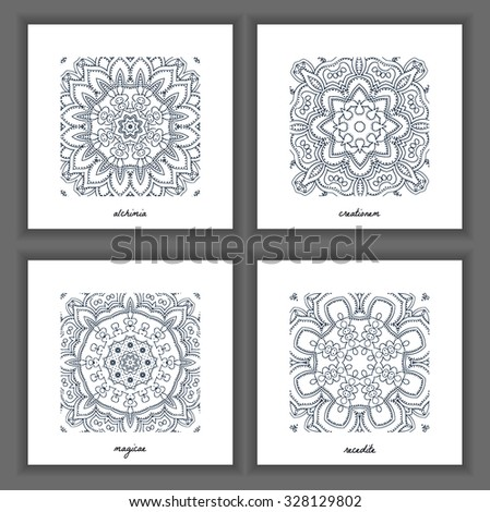 Collection of decorative patterns and textures. Snowflakes artistic icons. Mandala collection - stock vector