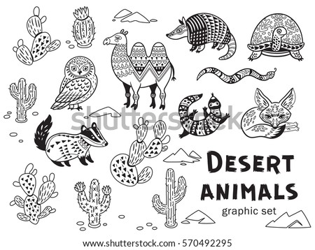 Collection Of Desert Animals In Vector Outline Ornamental Illustration Ethnic Tribal Style For