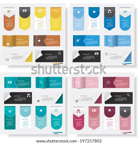 Collection of design clean number banners template/graphic or website layout. Vector. - stock vector