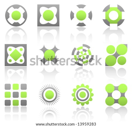 Collection of 12 design elements and graphics in green and gray color. Part 1. - stock vector