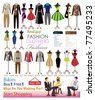 collection of designer fashion clothing hanging on mannequin as display. vector illustrator - stock vector