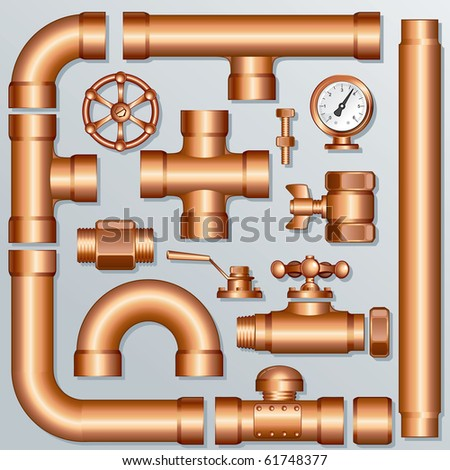 Collection of detailed Brass Pipeline pieces, for create your own domestic, industrial or brewery construction - all elements separated and grouped - stock vector