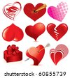 Collection of detailed vector hearts, various stylized love symbols for your design - stock vector