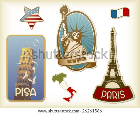 collection of detailed vintage suitcase-stickers - stock vector