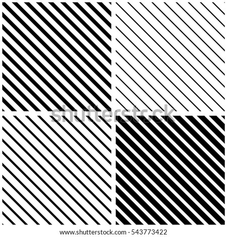 Collection of 4 diagonal seamless backgrounds. patterns of different thickness