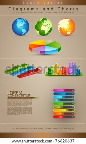 Collection Of Diagrams, Charts and Globe - Vector Illustration - stock vector