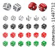 collection of dice vector (four color) - stock vector