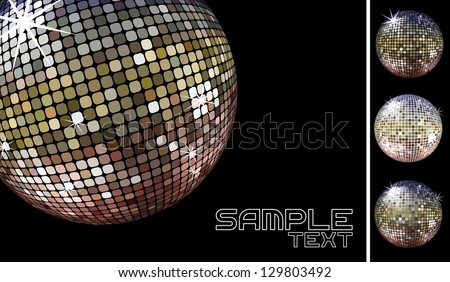 collection of dicoballs isolated on black background and retro party background sample whith disco ball, in vector format only solid colors - stock vector