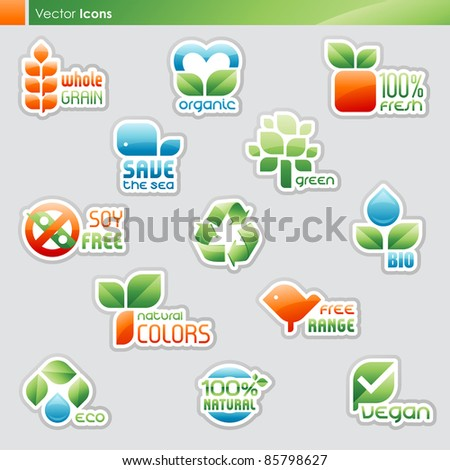 Collection of diet labels and healthy food symbols (icons and text goes outlined separately).