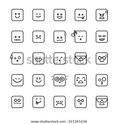 Collection of difference emoticon icon on the white background vector illustration - stock vector