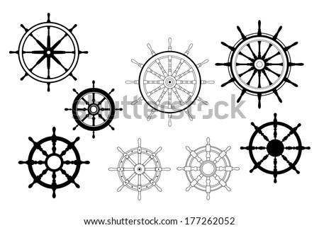 Collection of different black and white logo designs for nautical ships wheels - stock vector