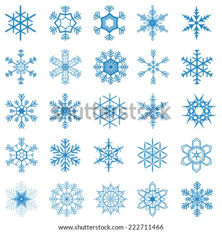 collection of different blue snowflakes on white background - stock vector